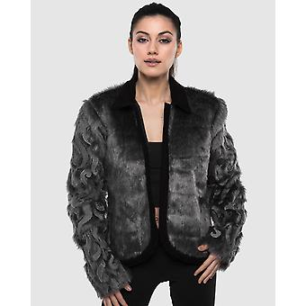Beaded And Embroidered Faux Fur Jacket