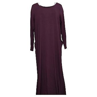 Modern Soul Plus Dress Jersey Knit Maxi w/ Pockets Purple 671349