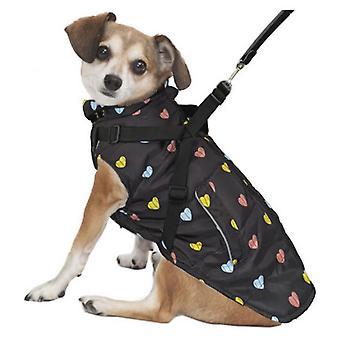 Fashion Pet Puffy Heart Harness Coat Black - Medium