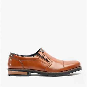 Rieker 14650 Miesten nahka leveä istuvuus slip kengät ruskea