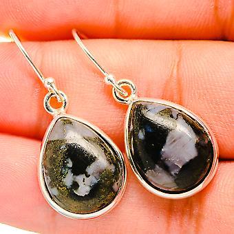 """Gabbro Stone Earrings 7/8"""" (925 Sterling Silver)  - Handmade Boho Vintage Jewelry EARR419804"""