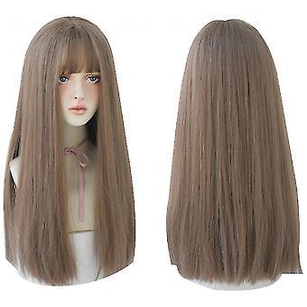 Lang sort glat hår paryk med pandehår syntetisk high density langt hår (farve1) halloween gave