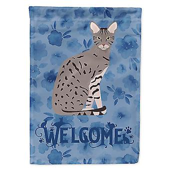Flags windsocks carolines treasures ck5045chf ocicat cat welcome flag canvas house size