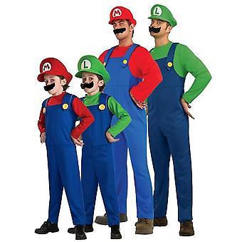 Super Mario Costume Halloween Luigi Brothers Plumber Jumpsuit Cosplay Suit For Adult Kids
