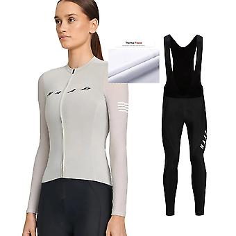 Maap Frauen Winter Neue Patternthermal Fleece Lange Hosen Anzge Radfahren Jersey Sets Mit Bib Shorts