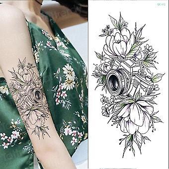 Vízálló ideiglenes tetoválás matrica Rózsa Virágok Leave Flash Tetoválás Body Art Kar Hamis ujj Tatoo Fekete Nők Lányok Wrist