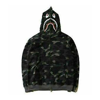Men's Shark Jaw Camo full fermoar Hoodie Sweats Jacket