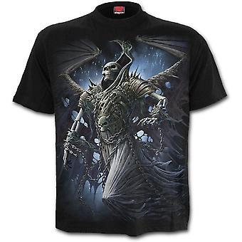スパイラル - 翼スケルトン - メン&アポス;s黒半袖Tシャツ