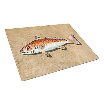 Carolines Treasures  8807LCB Red Fish Glass Cutting Board Large