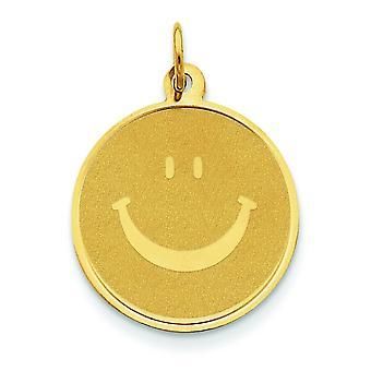 14k Gelb Gold solide polierte Smiley-Gesicht für Jungen oder Mädchen Anhänger - Maßnahmen 26.3x19.3mm