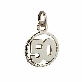 9ct or numéro 16mm 50 en fil torsadé cercle pendentif ou charme