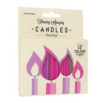 Flaming verbazingwekkende kaarsen, roze en paars