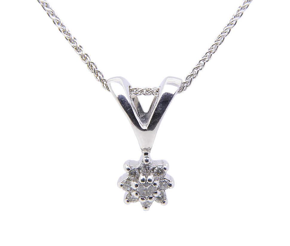 Wit gouden stervormige diamanten hanger