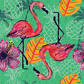 Tropical Flamingo Pattern Poster Print by ND Art and Design