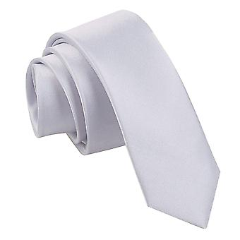 Silber Plain Satin schmaler Krawatte