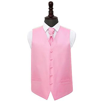 Baby Pink Greek Key Wedding Waistcoat & Cravat Set