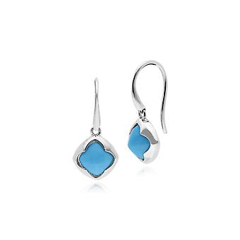 Gemondo Sterling Silver Turquoise Cushion Sugarloaf Drop Earrings