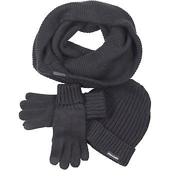 Urbains classics - SET-chapeau d'hiver Echarpe gants noirs