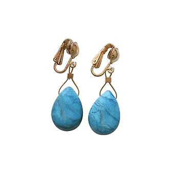 Gemshine Ladies Earrings Ear Clips Gold plated Turquoise Drop Faceted Blue