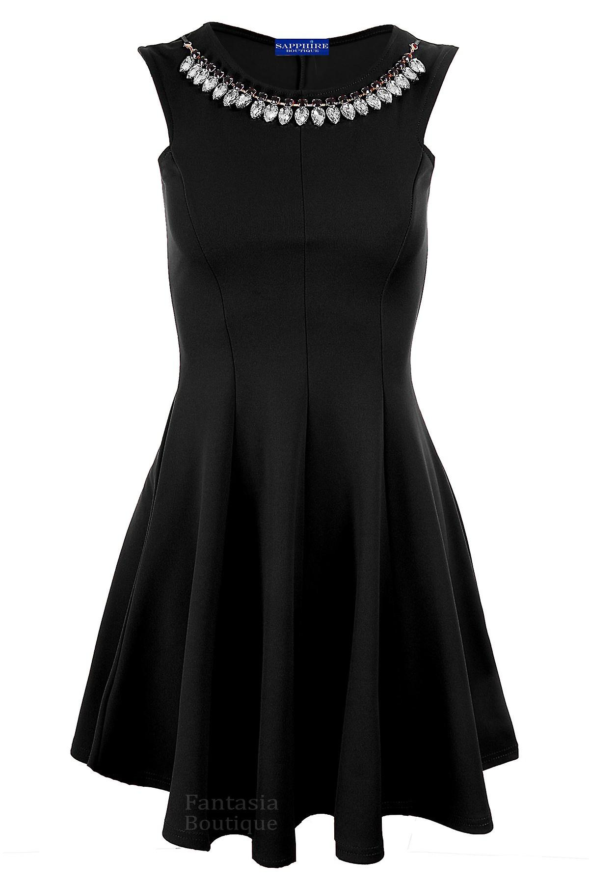 Ladies Sleeveless Dimante Necklace Evening Smart Women's Skater Dress