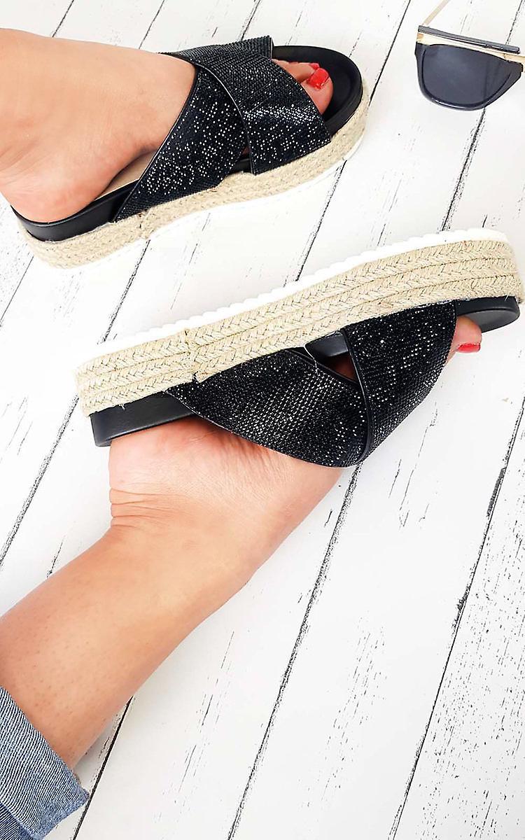 IKRUSH Womens Cassie Crossover Flatform Sliders