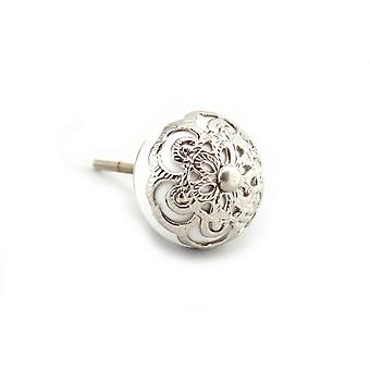 CGB Giftware White With Silver Filigree Drawer Handle