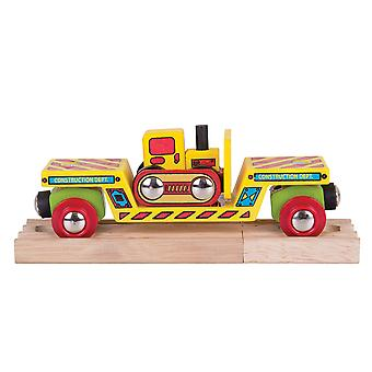 Bigjigs Rail Wooden Bulldozer Low Loader Track Train Play Set Accessories