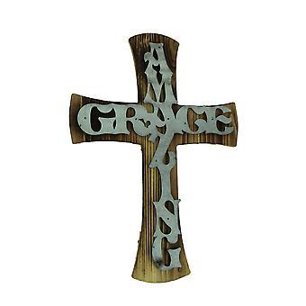 Wood and Metal Amazing Grace Wall Cross