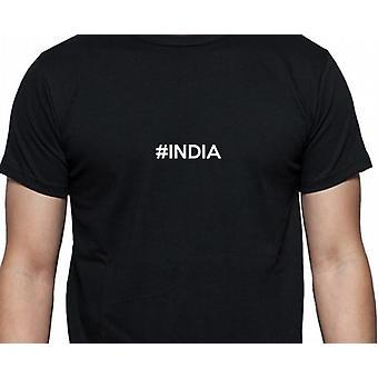 #India Hashag Indien sorte hånd trykt T shirt