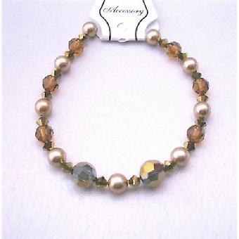 Hadert Kristall Hochzeit Armband Espresso Kristalle Dorado geräuchert Topaz w / Broze Perlen Swarovski Kristallen & Perlen