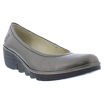 Womens Fly London Pump Idra Leather Closed Toe Wedge Heel Office Shoes