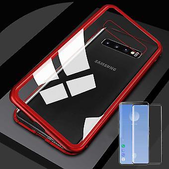 עבור Samsung Galaxy S10 G973F 6.1 אינץ ' מגנט/מתכת/מקרה זכוכית במקרה אדום/שקוף + 0.3 mm H9 בעובי 4D זכוכית מעוקל מעוגל מלא