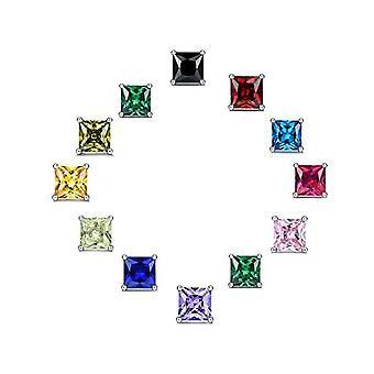 925 Sterling Silver Colorful Princess Cut Stud Earrings Aaaaa Cubic Zirconia
