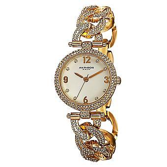 Akirbos XXIV AK756YG femmes Crystal-accentués Swiss quartz or-Tone bracelet montre