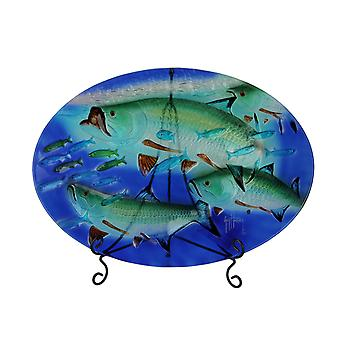 Guy Harvey Blue und Green Tarpon Oval Glass Tray mit Display Stand