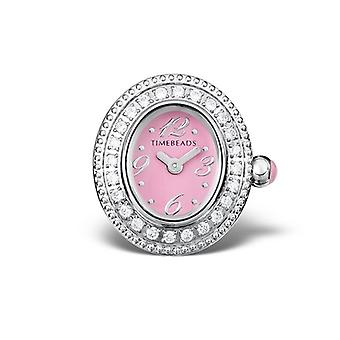 Timebeads Pink & CZ Oval Watch Charm with Clip Fastening TB2003CZPK