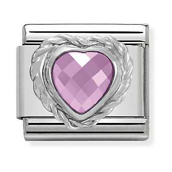 Nomination Classic Heart-Shaped Faceted Pink Stone Steel, CZ and 925 Silver Link Charm 330603/003