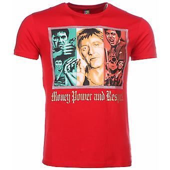Camiseta-Scarface Money Power Respect Print-Rojo