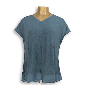 H de Halston Women's Top Extended Shoulder V-Neck Top Blue A303178