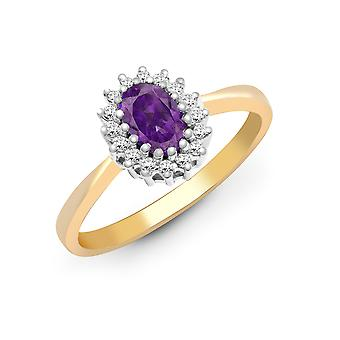 Jewelco London 9ct Gelbgold H I2 0,12 ct Diamant und Oval lila 0,44 ct Amethyst klassische Royal Cluster Ring 9mm