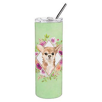 Chihuahua groene bloemen dubbelwandige RVS 20 oz mager tuimelaar