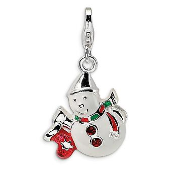 925 Sterling Silver Rhodium plated Fancy Lobster Closure Enameled Crystal Snowman With Lobster Clasp Charm Pendant Neckl