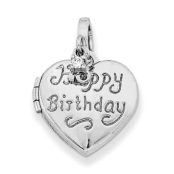 925 Sterling Silver Dangle Polished contiene 2 foto Sentiment on back 15mm Love Heart Happy 16th Birthday With CZ Cubic Z