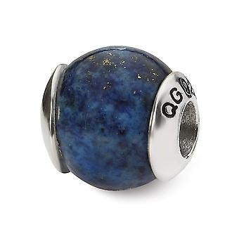 925 Sterling Silver Polished finish Reflections Lapis Stone Bead Charm Pendant Necklace Jewelry Gifts for Women