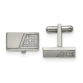 Stainless Steel Engravable Polished With CZ Cubic Zirconia Simulated Diamond Cuff Links Jewelry Gifts for Men