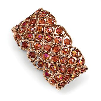 Copper tone Orange Aurora Borealis Crystal Stretch Bracelet Jewelry Gifts for Women