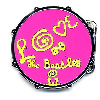 The Beatles Belt Buckle Love Drum Band logo Pink new Official Metal
