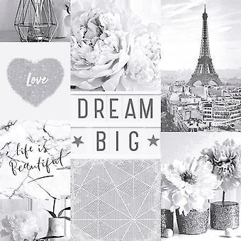 Traum große Paris Collage Wallpaper Mono Arthouse 692100
