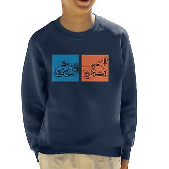Krazy Kat Blue Orange Panel Kid's Sweatshirt