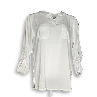 Susan Graver Women's Top Stretch Woven Split Neck Tunic White A253038